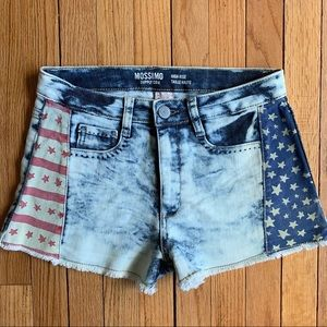 Bleached High Waisted Stars and Stripes Shorts